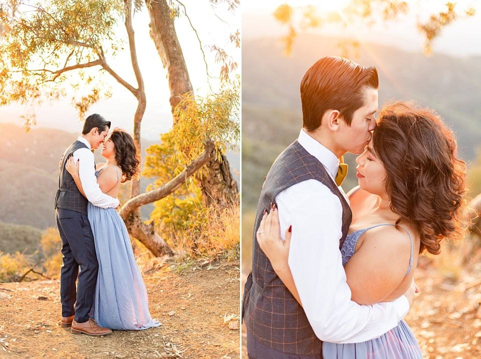 Peter is holding Breanna around her waist and leaning her back slightly as he leans in for a kiss. Peter is kissing Breanna's forehead in a second photo.
