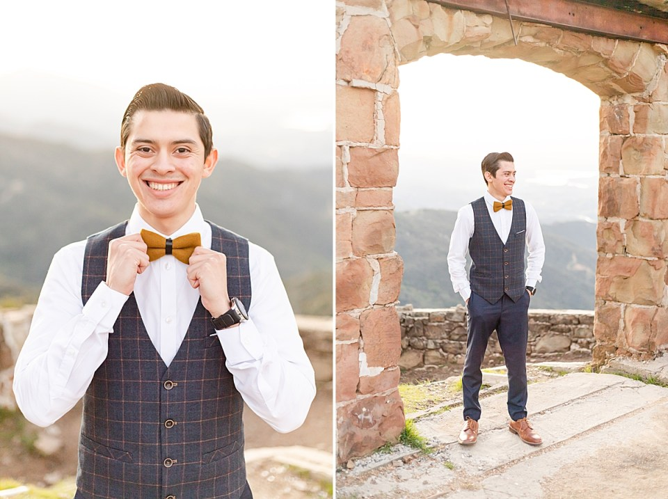 Peter adjusting his bowtie and smiling at the camera and a second photo of Peter smiling at his bride while standing under the arch of Knapp's Castle.
