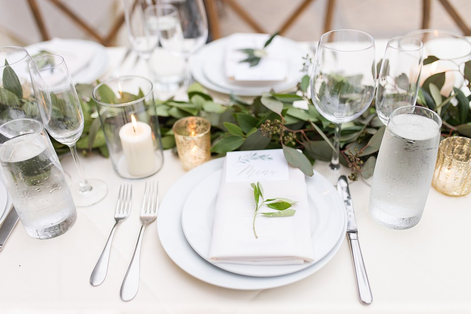 A place setting at the couple's Villa & Vine Wedding