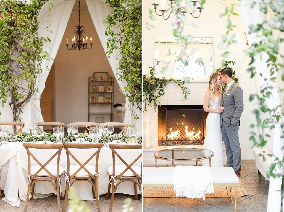 Reception tables set up and ready for dinner. A second photo of the couple standing in front of the fireplace holding each other closely at their Villa & Vine Wedding