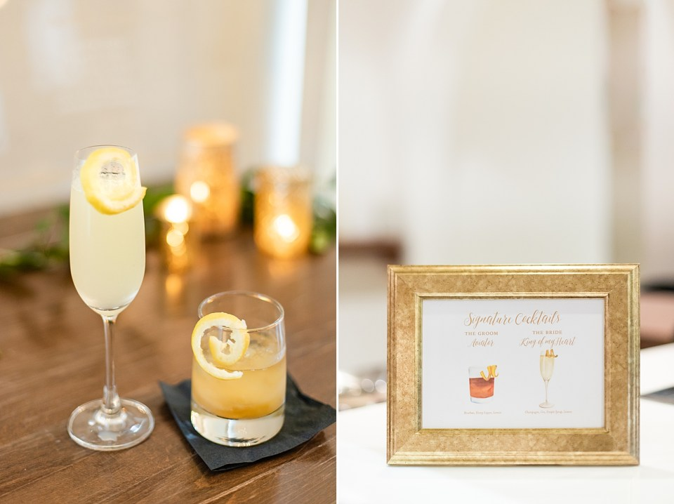 The couple's signature drink and a sign that says what the signature drink is.