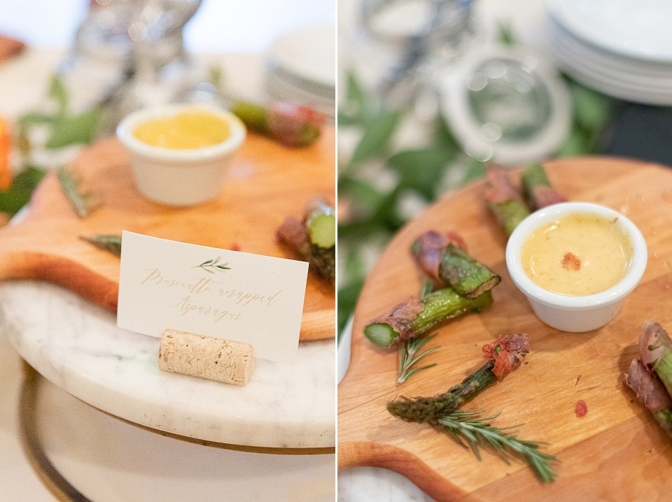 Appetizers at the couple's Villa & Vine Wedding