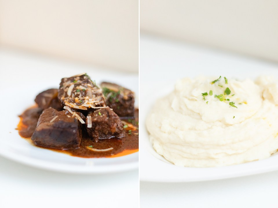 beef and potatoes in two separate photos that were served at the couple's Villa & Vine Wedding.