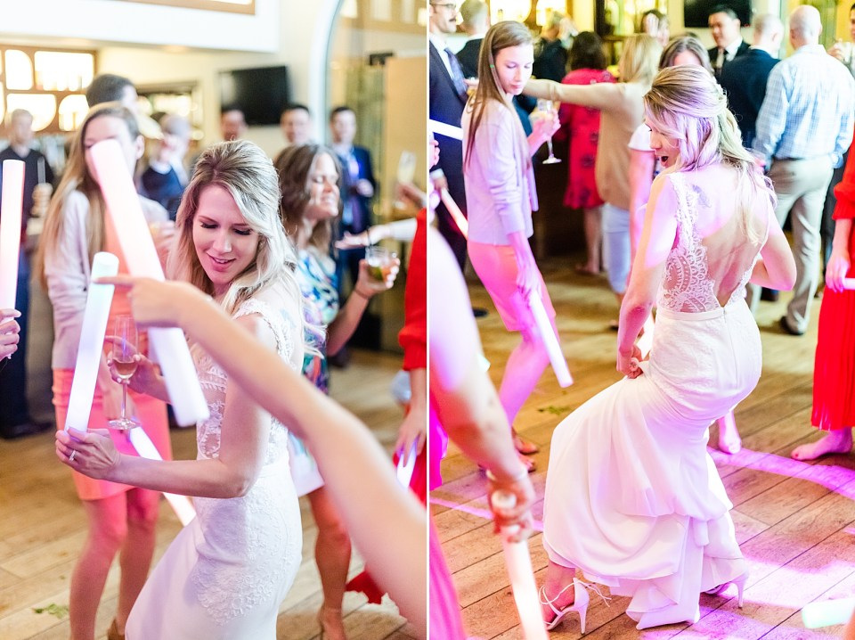 The bride dancing to the music during her Villa & Vine Wedding