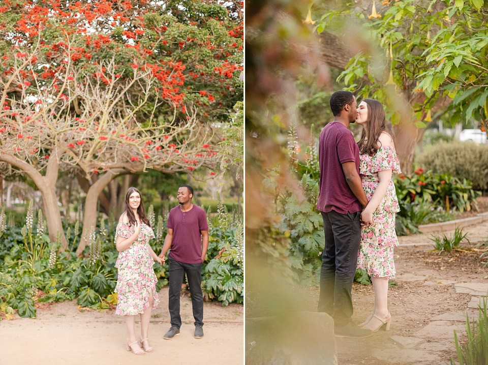 Sarah smiling at the camera while twirling her hair and Myles smiling at Sarah as they stand under a tree with red flowers. A second photo of the couple sharing a kiss with small green leaves in the foreground.