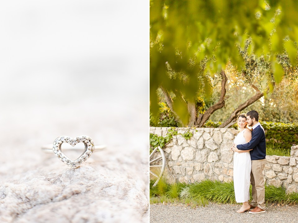 The promise ring in the shape of a heart outlined by diamonds. And a second photo of Joey hugging Sofia from behind as she smiles back at him.