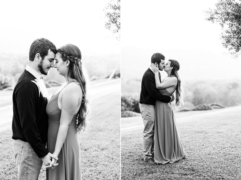 The couple forehead to forehead and sharing a kiss in these two black and white photos.