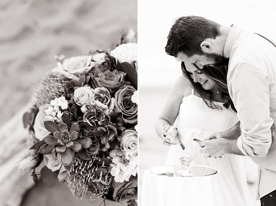 Black and white photos of the bride's bouquet and of the couple pouring sand into the glass bottle.