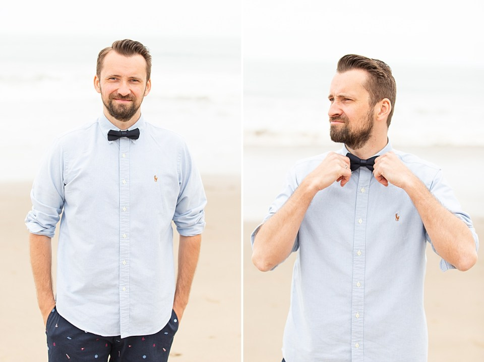 Michael wearing a black bowtie and light blue shirt and shorts. He is smiling at the camera in one photo and adjusting his bowtie in the second.