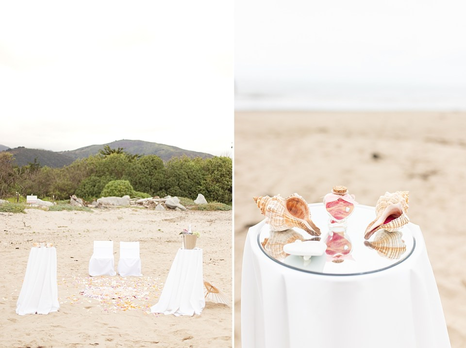 The ceremony location with the mountains in the background. A second photo of the glass bottle in the shape of a heart filled with both colors of sand and the shells sitting next to it.