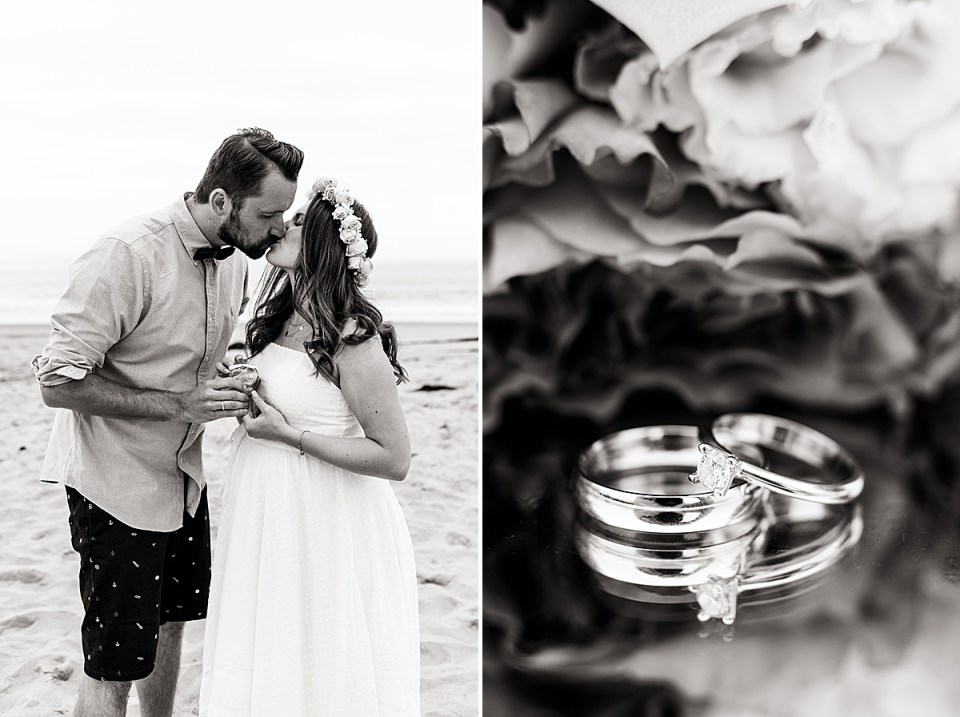 Black and white photo of the couple holding their glass bottle filled with sand during their Santa Claus Beach Elopement. And a black and white photo of the couple's rings on a mirrored table with flowers behind.