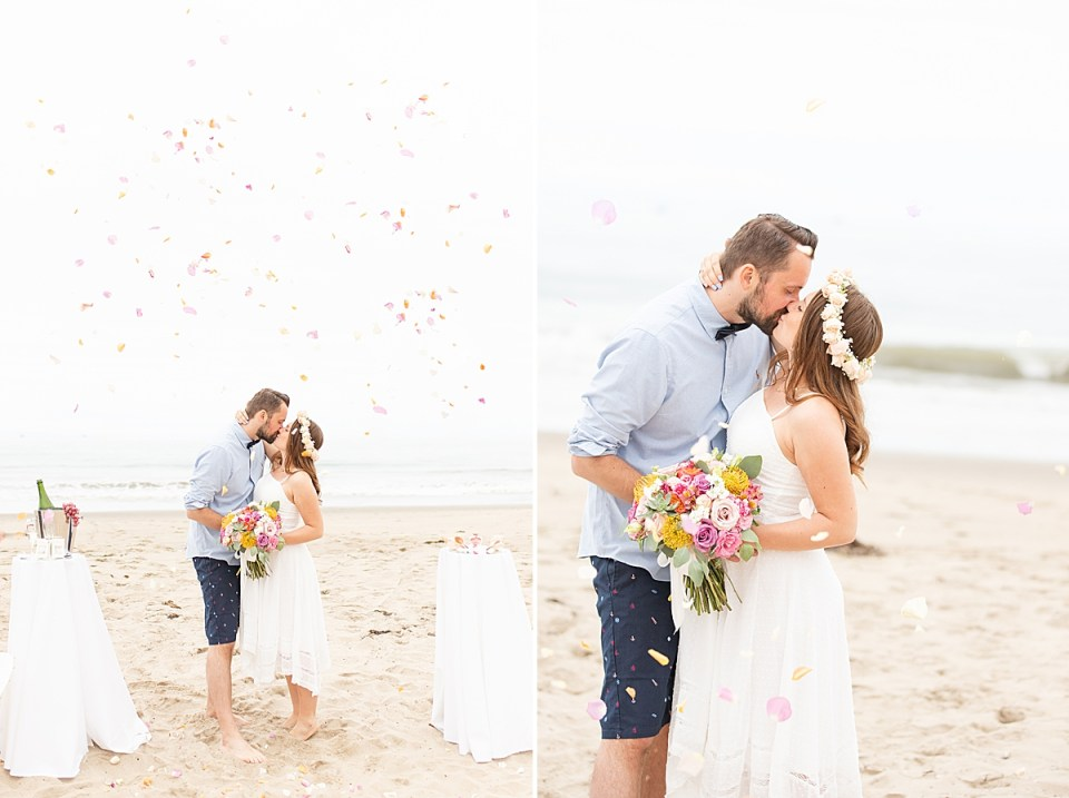 The couple sharing a kiss with flower petals in the air falling around them. A second photo of the newlyweds kissing and Gina is holding her bouquet of colorful flowers.