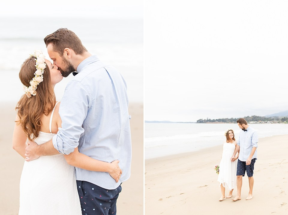 Gina & Michael with their arms around each other sharing a kiss and a second photo of the couple smiling at each other while walking on the beach holding hands during their Santa Claus Beach Elopement.