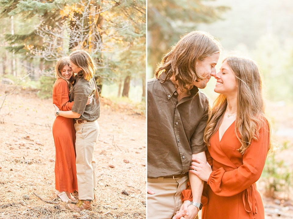 Abby & Rothwell sharing a hug as he kisses her temple. And a photo of the couple touching noses and smiling at each other while holding hands during their Lake Arrowhead Engagement session