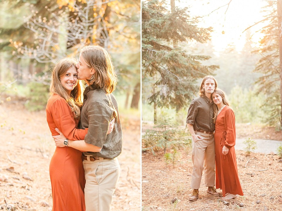 Rothwell kissing the side of Abby's head as she smiles at the camera, and a second photo of the couple smiling at the camera together.