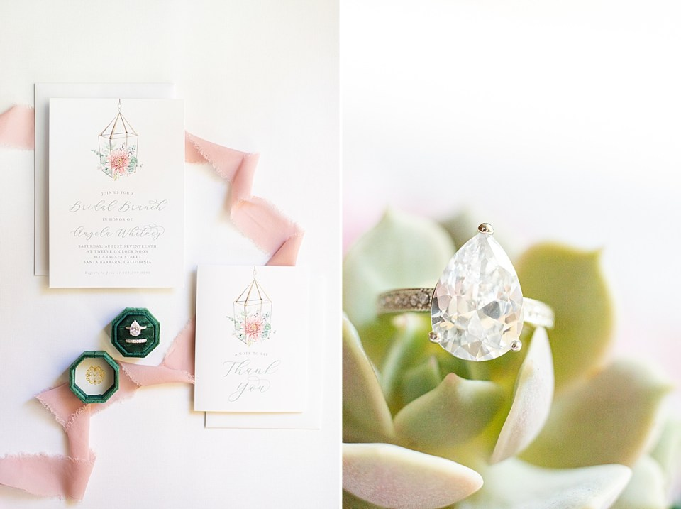 The bride's engagement ring on a succulent and the couple's details