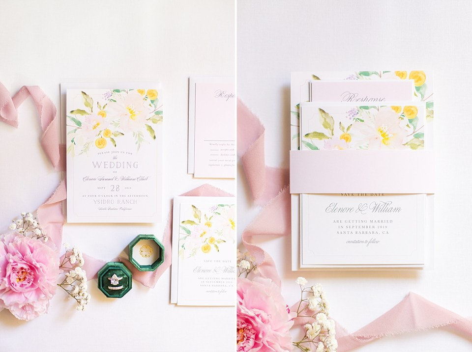 The couples bridal shower brunch invitations with Pink Peonies, Baby's Breath, blush lace and an emerald green ring box with the bride's engagement ring and wedding band.