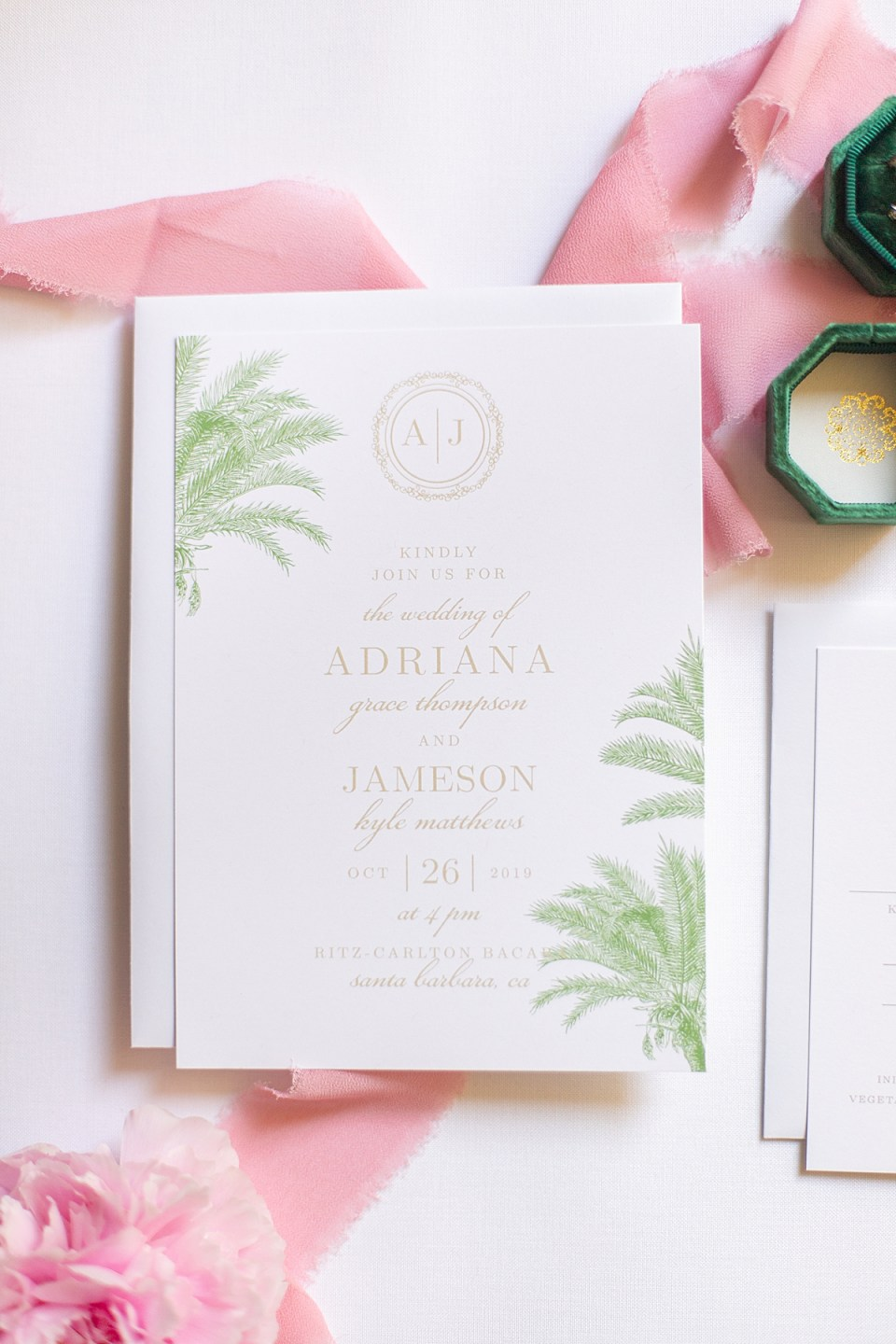The couple's palm tree bridal shower brunch invitations