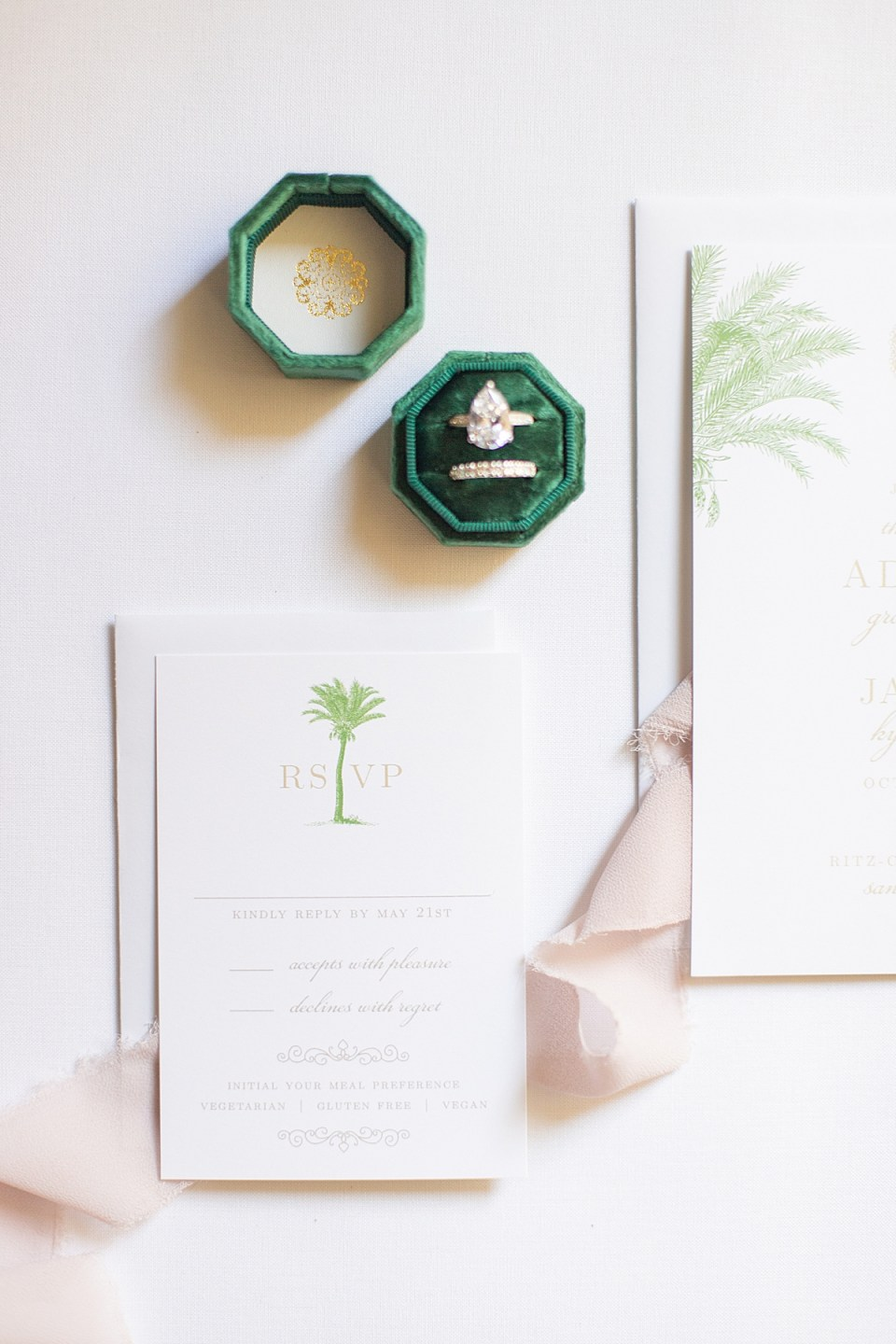 The couple's bridal shower brunch invitations with blush lace.