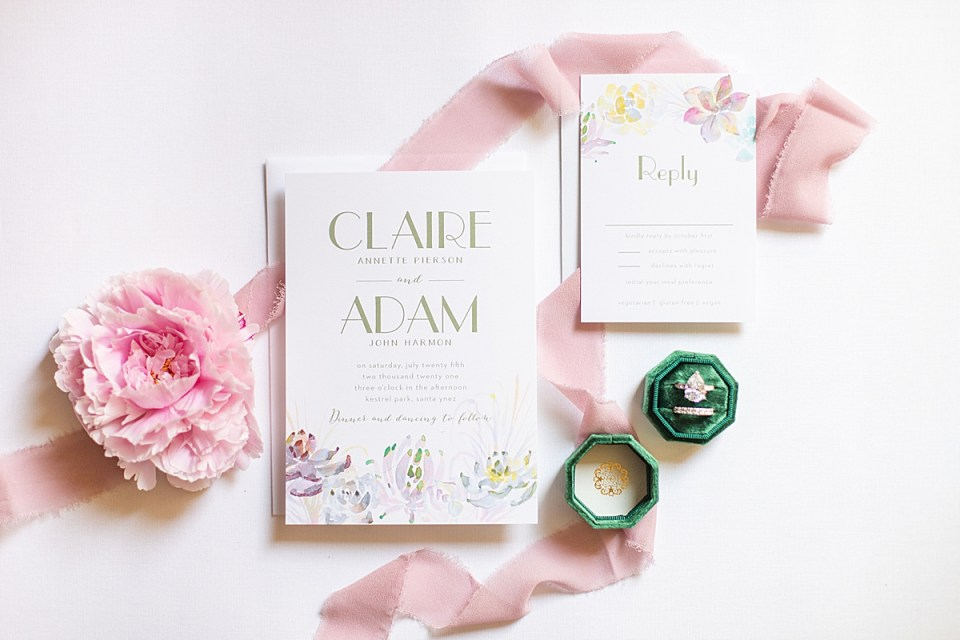 bridal shower brunch invitations with a pink peony and emerald green ring box.