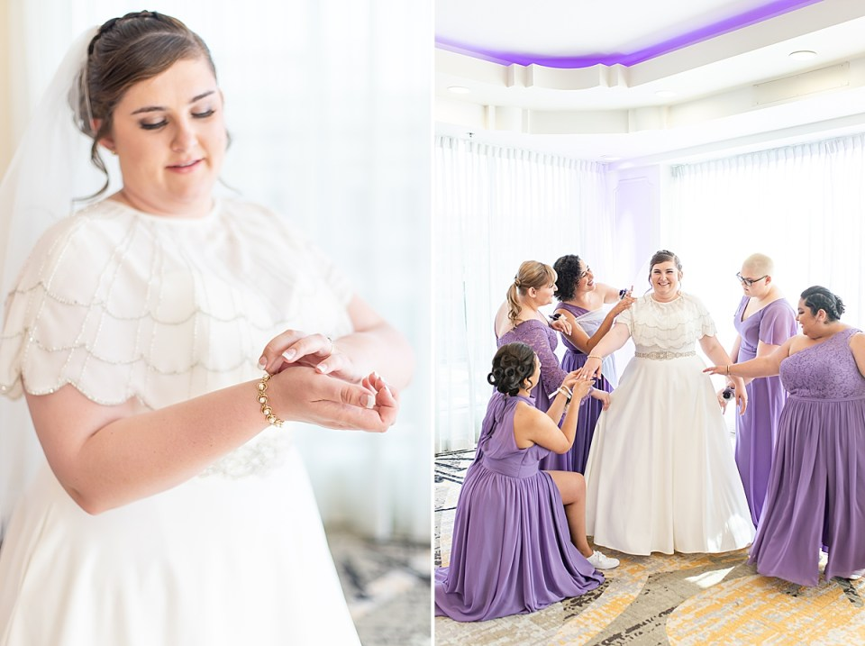 Betsy adjusting her bracelet and a second photo of the bride and her bridesmaids helping her get ready.
