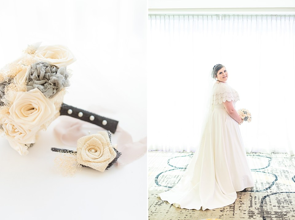 The brides bouquet and the groom's boutonnière surrounded by lace. A second photo of the bride looking over her should smiling at the camera.