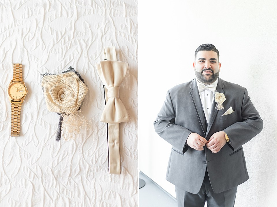 The groom's details, including his watch, boutonnière, and bowtie. A second photo of Michael buttoning his tux jacket.