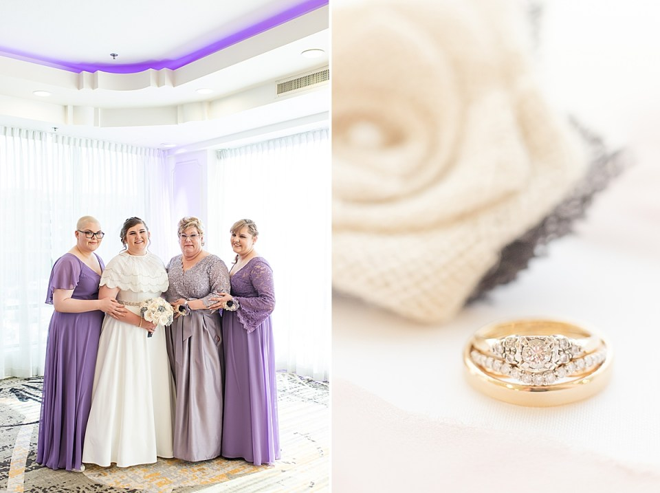 Betsy with her mother and two sisters smiling at the camera and a second close up photo of the couples rings.