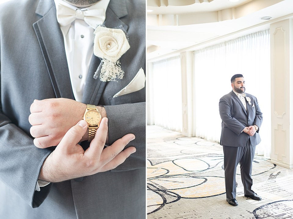 The groom holding his watch and a second photo of Michael getting ready for his first look.