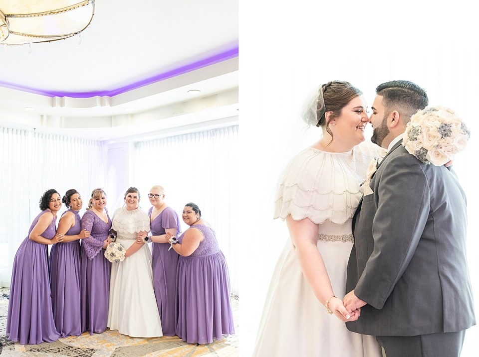 Betsy and her bridesmaids smiling at the camera while they hold onto each other. A second photo of the couple holding hands and smiling at each other before a kiss during their Brandview Ballroom Wedding.