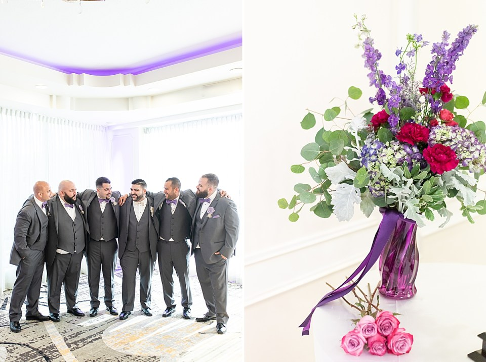 Michael and his groomsmen with their arms around each other. A second photo of the florals from Betsy & Michael's Brandview Ballroom Wedding