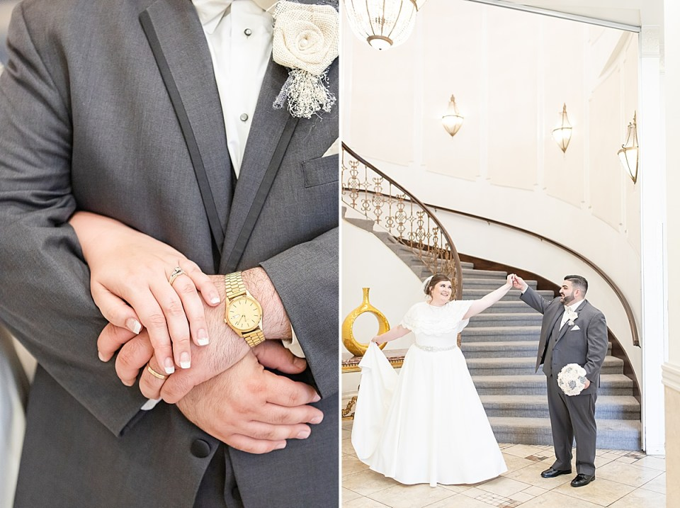 the brides hand on top of the groom's showing off their rings. A second photo of Michael twirling Betsy at the bottom of the staircase.