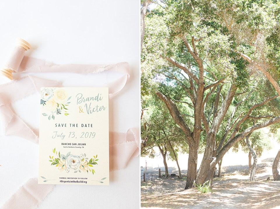 Brandi & Victor's save the date surrounded by pink lace. A second photo of a large tree near the driveway near the couples Rancho San Julian Wedding venue.