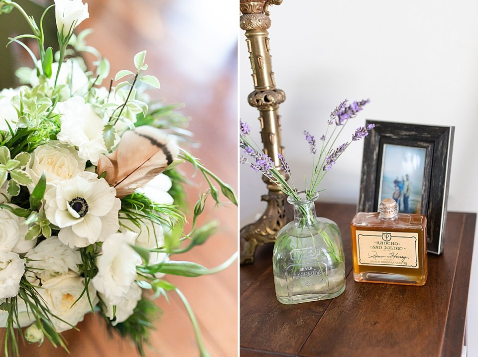 Brandi's bouquet of flowers with a bride feather in it. A second photo of some details from a table stand inside the Rancho San Julian Wedding venue.