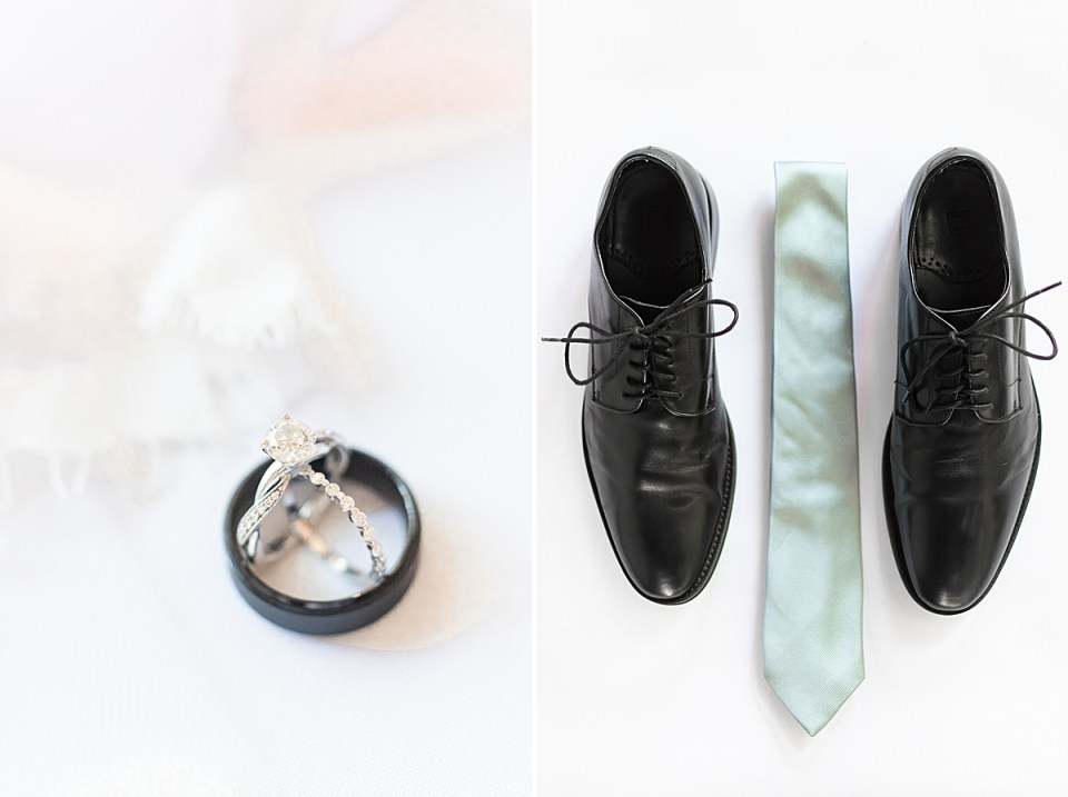 A close up image of the couples rings, and a second image of the groom's shoes and tie.
