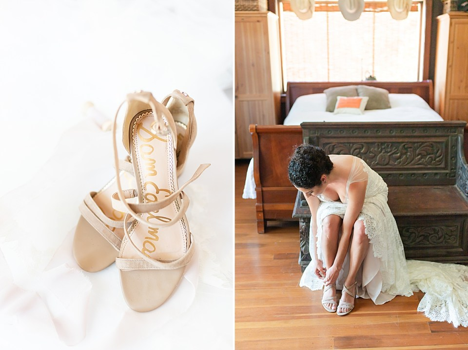 a close up photo of Brandi's wedding heels, and a second image of Brandi putting her heels on while sitting on a bench.
