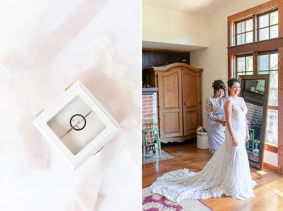 The couples rings on top of a white box with a gold clasp. A second image of Brandi and her mother in her Rancho San Julian Wedding getting ready room.