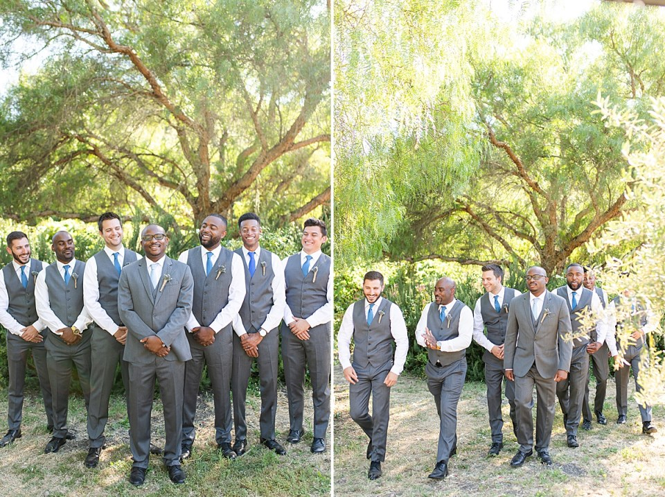 Victor's groomsmen standing behind him and smiling at him. In a second photo all the guys are walking past the camera.