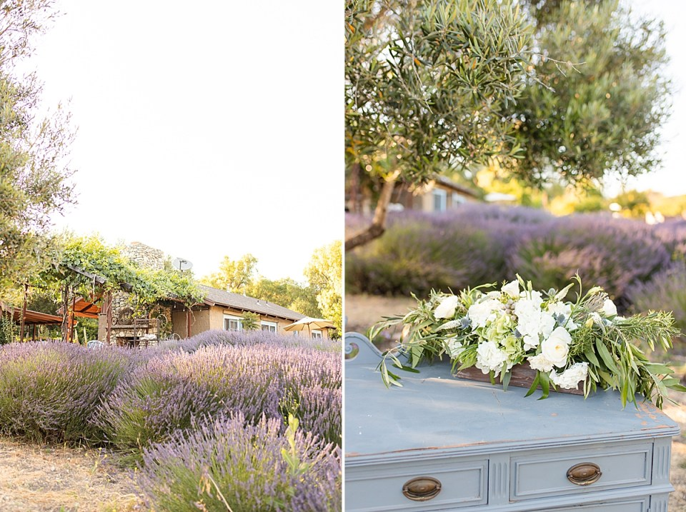 lavender fields with the ranch house behind them. A second image of a blue antique dresser with white roses on it and the lavender fields behind it..