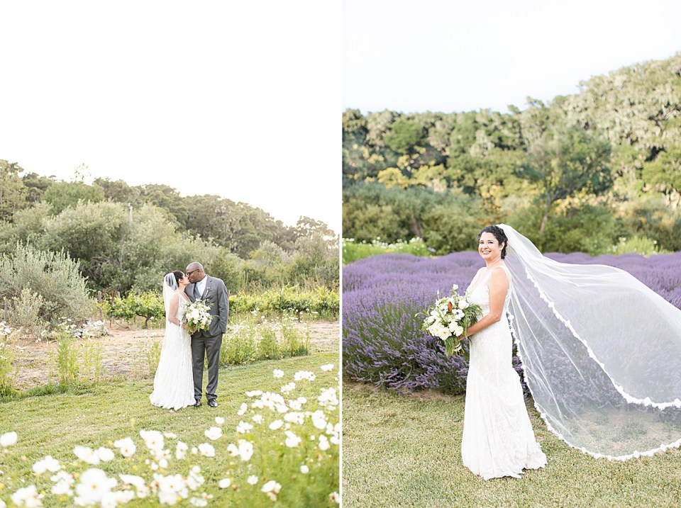 Brandi & Victor touching foreheads, and Brandi standing in front of a lavender field holding her bouquet while her veil flows in the wind