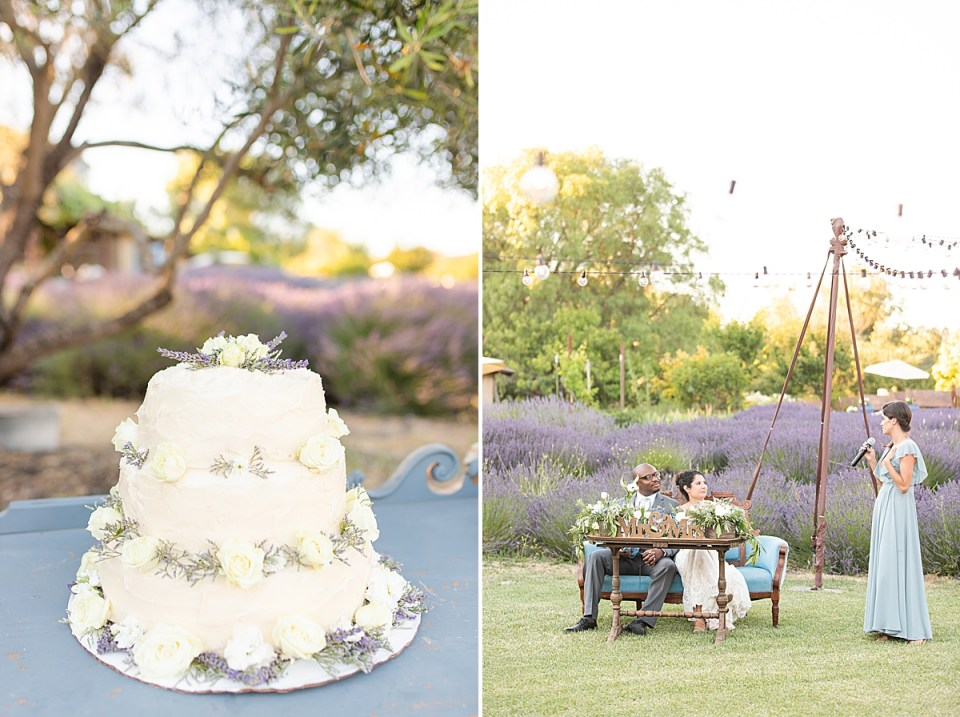 One of the couples wedding cakes and a second image of the bride's sister giving her toast