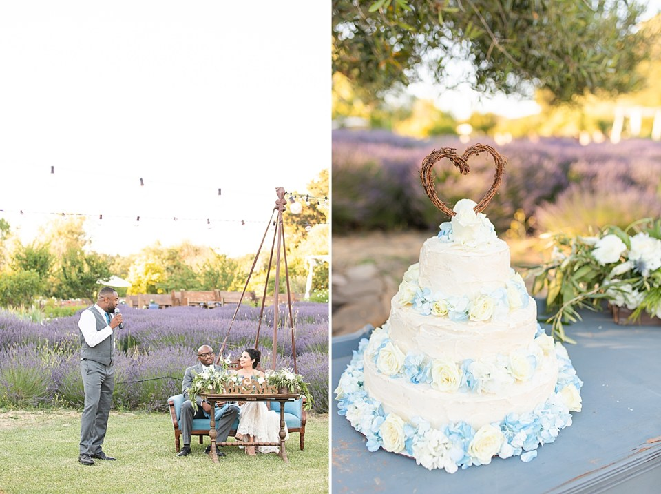 One of the couples wedding cakes and a second image of the groom's brother giving his toast