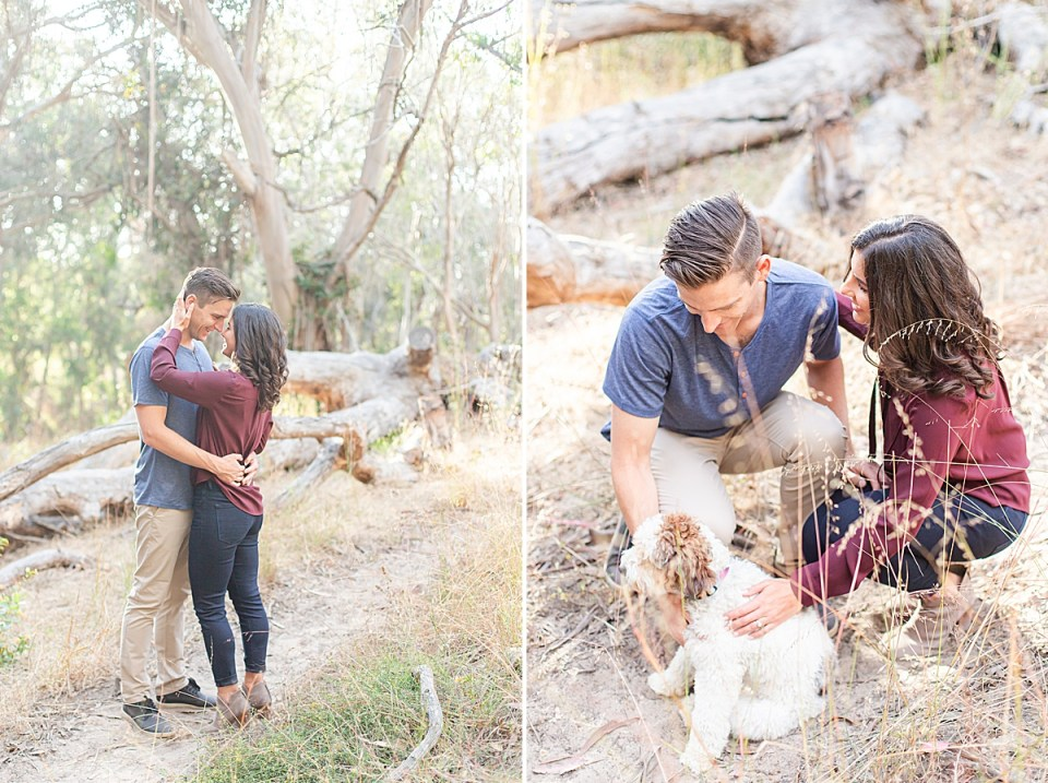 Lauren's hands are around Scott's neck pulling him in for a kiss and Scott is smiling down at Lauren. A second image of the couple with their puppy, Cali.
