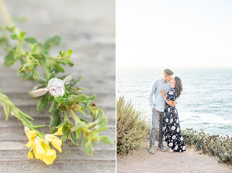 The bride's engagement ring on some greenery and next to a yellow wild flower. A second image of the couple standing on the bluffs with the ocean behind them.