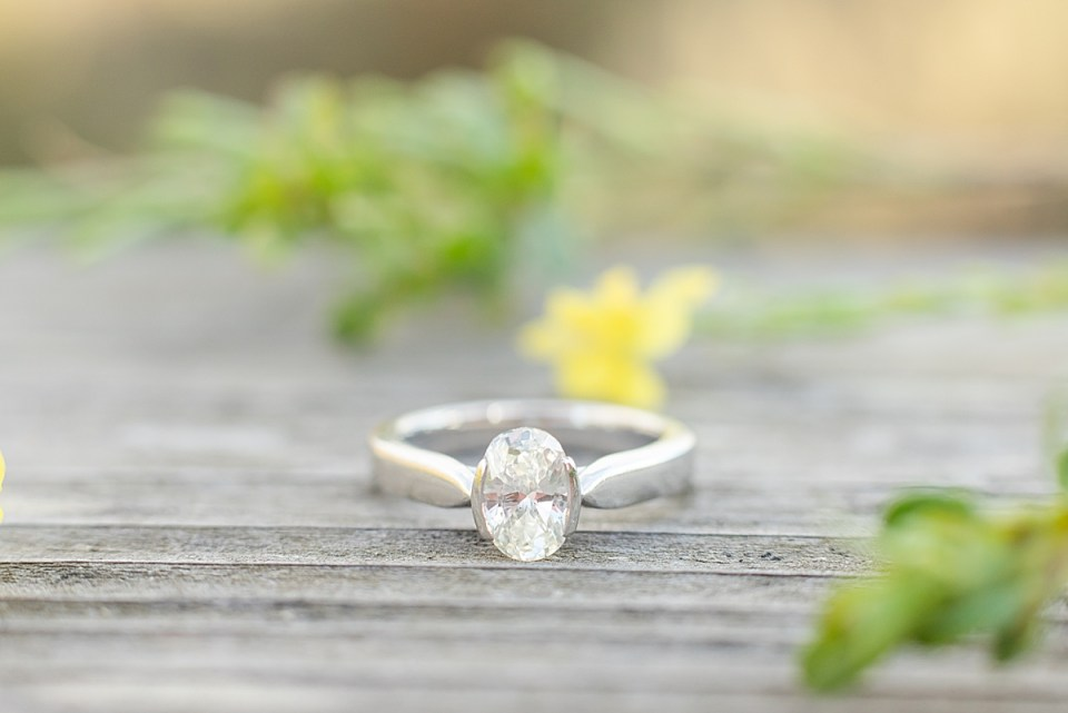 A close up of Lauren's engagement ring.