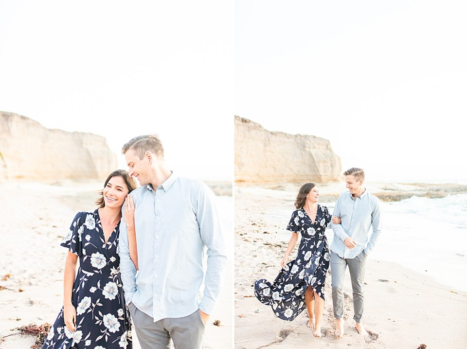 The couple smiling and laughing with each other at their Montaña de Oro engagement session.
