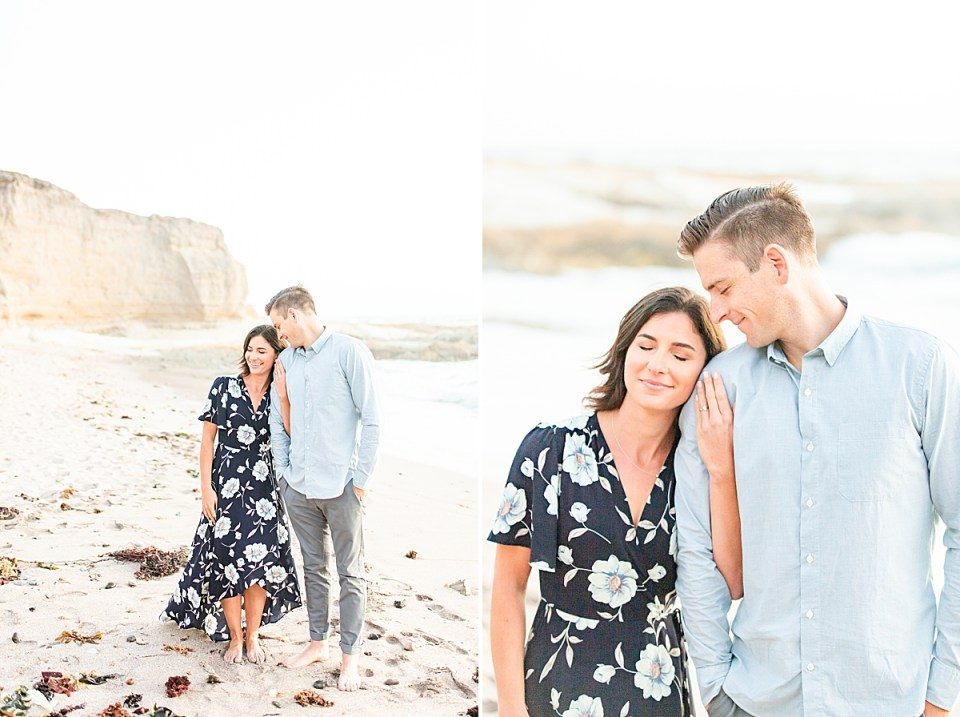 Lauren & Scott on the beach during their Montaña de Oro engagement session