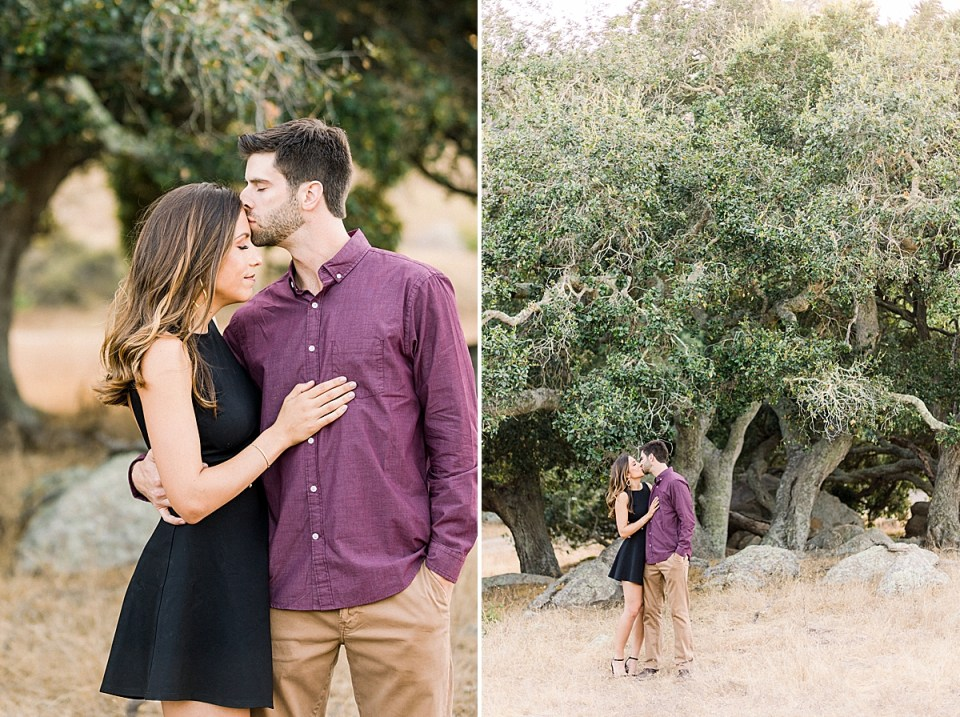 Brett kissing Kat's forehead while pulling her in close. A second image of the couple standing in front of some oak trees.