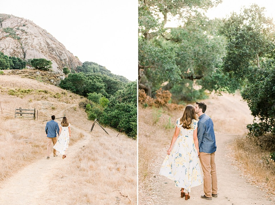 The couple walking along paths during their San Luis Obispo Bishop's Peak engagement session.