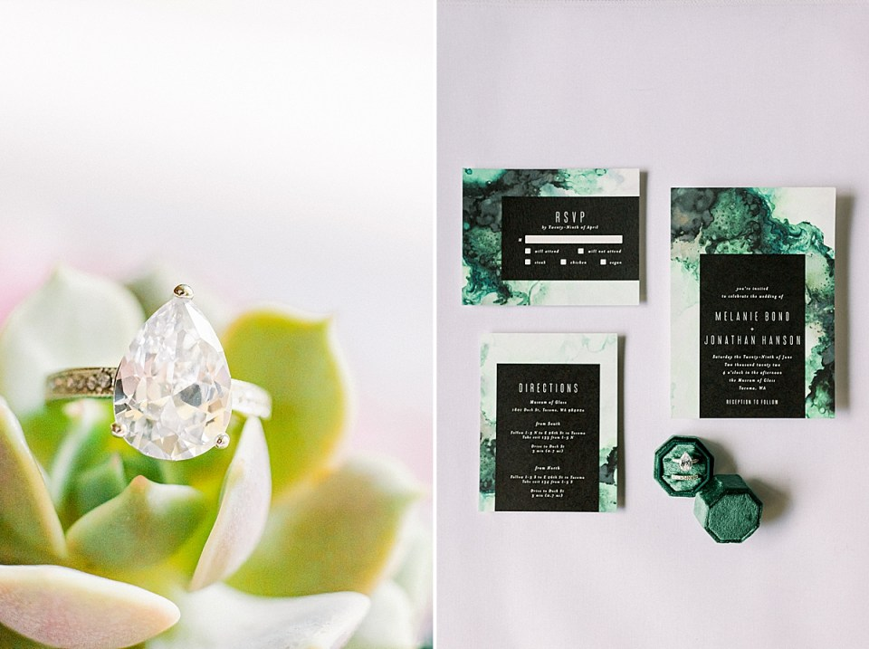 A close up of the bride's engagement ring and a second image of a couple's wedding stationery.